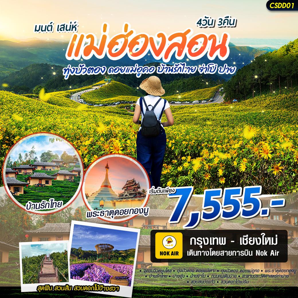 ทัวร์แม่ฮ่องสอน ทุ่งบัวตอง ดอยแม่อูคู บ้านรักไทย 4วัน 3คืน