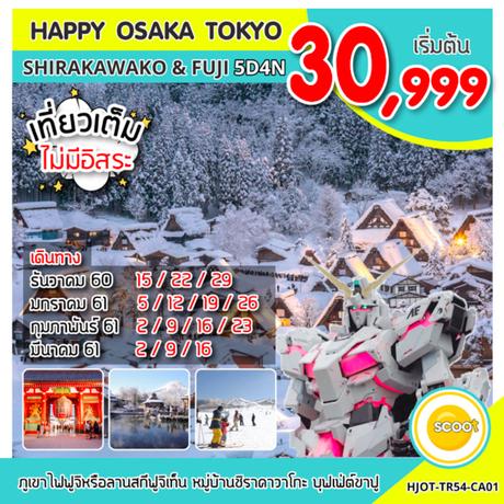ทัวโอซาก้า โตเกียว HJOT-TR54-CA01   HAPPY OSAKA TOKYO SHIRAKAWAKO &FUJI