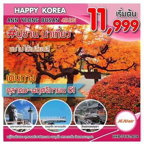 ทัวร์เกาหลี HKB-7C42-A04 HAPPY KOREA AHN YONG BUSAN 4D2N