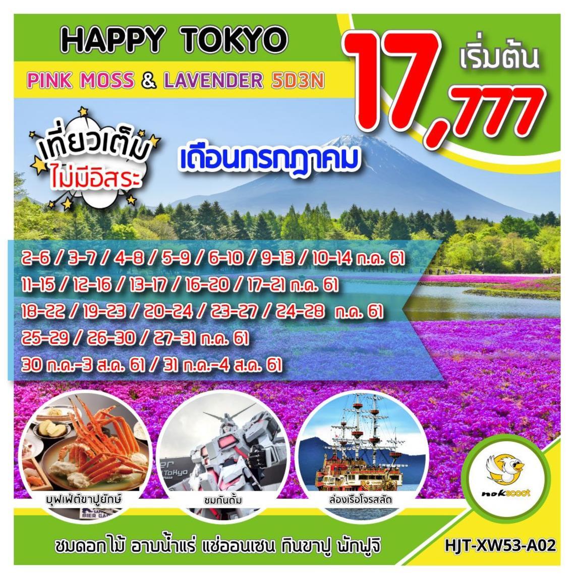 ทัวร์ญี่ปุ่น ทัวร์โตเกียว HJT-XW53-A02 HAPPY TOKYO PINKMOSS LAVEDER UPDATE 4/04/61