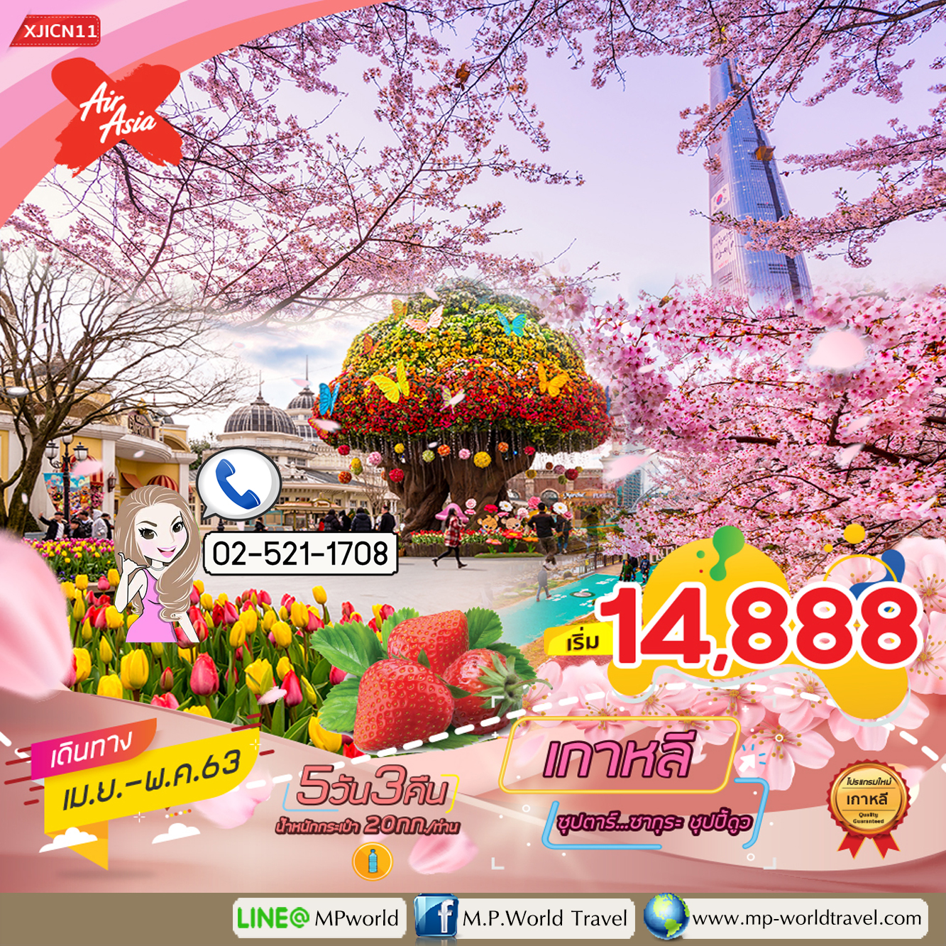 ทัวร์เกาหลี สวนสนุกเอเวอร์แลนด์ 5 วัน 3 คืน  ซุปตาร์...ซากุระ ชุปปี้ดูววว